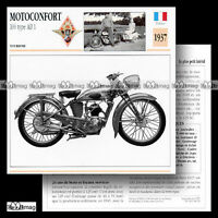 #038.05 MOTOCONFORT 100 TYPE AB 1 1937 Fiche Moto Classic Bike Motorcycle Card