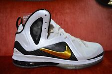 NEW NIKE LEBRON 9 P.S ELITE JAMES HOME WHITE-GOLD-BLACK Size 10 516958-100