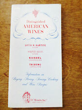 1950s Distinguished Finer American Wines Advertising Small Booklet Recipes Tips