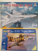 """GRUMMAN F-14 A TOMCAT PLUS ITALERI FIAT G.91 """"TIGER-MEET"""" REVELL SCALA 1:72"""
