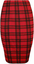 Women's Check Polyester Knee Length Straight, Pencil Skirts