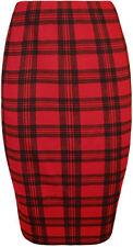 Polyester Plaids & Checks Knee-Length Straight, Pencil Skirts for Women