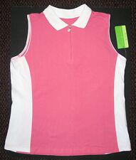 NWT Allyson Whitmore Bogey Golf sleeveless collar shirt Pink & White Misses XL