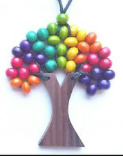Tree of Life Necklace Natural Wood Beads Funky Bright Colours Rainbow.