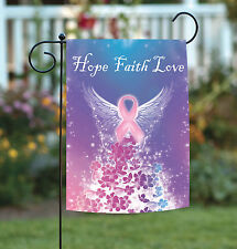 NEW Toland - Hope Faith Love - Pink Ribbon Angel Cancer Support Garden Flag