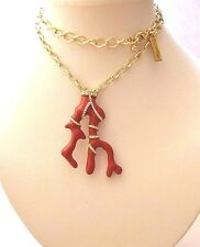 Oscar De La Renta Link Red Coral Pendant Gold plated Necklace