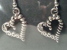 Style Hook Fashion Earrings - Jewelry Handmade Silver Tone Love Heart Drop