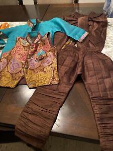 Pakistani/Indian Shalwar Kameez Kids Boys Desi Clothes 4 Pieces. Size 2. Brown