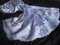Vanity Fair silky nylon & lace blue petticoat half waist slip underskirt