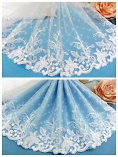 """9""""*1Y Embroidered Floral Tulle Lace Trim~Snow White~Precious Moment~Wedding~"""