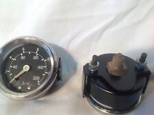 "52mm 2"" PRESSURE  GAUGE 200 PSI 14 BAR 1/8 BSP REAR CONNECTION GLASS LENS METAL"
