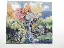 River Water Wheel Mill Grind House - Tapestry Fabric Pillow Frame Piece 13x14