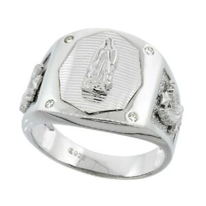 Men's Sterling Silver Octagonal Guadalupe Ring w/ Eagle Sides & CZ Stone Accents