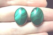 vintage smooth oval striped green Malachite 925 sterling silver clip on earrings