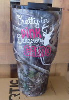 RTIC CAMO 30 oz.Tumbler with Pretty in Pink Decal  PRIORITY SHIPPING NEW
