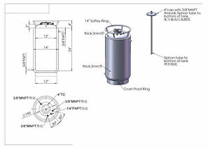 """HFS(R) -304 Stainless Steel Base Container 12"""" diameter by 12"""" tall"""