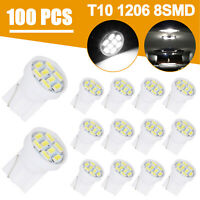 100x White T10 Wedge 8SMD W5W 194 168 2825 158 192 LED License Plate light Bulbs