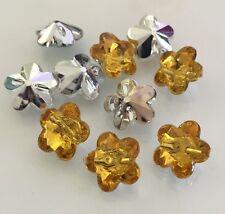10 X Orange/Brown Acrylic Rhinestone Flower Buttons - Australian Supplier