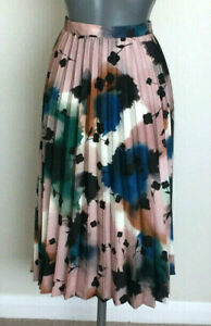 M&S Autograph Size 22 Abstract Floral Pleated Midi Skirt Bnwt