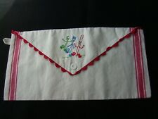 Vintage EMBROIDERED DISH TOWEL BAG Pouch Silverware
