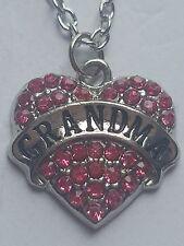 PINK GRANDMA FAMILY GIFT CRYSTAL LOVE HEART PENDANT RHINESTONE NECKLACE