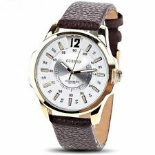 Waterproof Gold Leather Large Round Case Men's Quartz Casual Businesses Watches