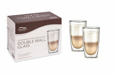 2x Aqualogis Double Wall Thermo Insulated Cafe Latte Glasses 350ml