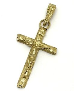 "14k Solid Gold Michael Anthony Cross Crucifix Pendant 3.08 Grams 1-3/4"" MA"