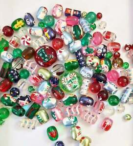 Christmas Beads Mix Snowman Gingerbread Man Tree Oval Beads DIY Jewelry 20 pcs