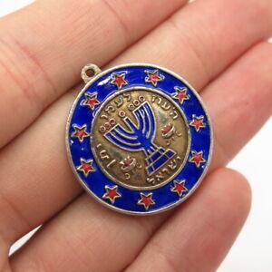 Antique Israel Sterling Silver Enamel Menorah Judaica Star Round Pendant SIGNED