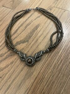 JUDITH JACK STERLING SILVER 925 NECKLACE VICTORIAN FAUX BROWN PEARL