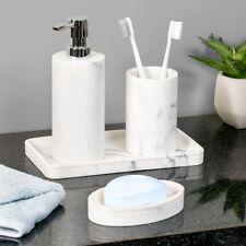 4 pc gray white MARBLE Bathroom bath Accessories set soap dish pump holder