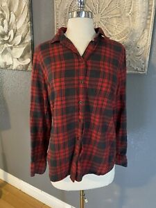 J Crew Medium Petite Perfect Shirt Buffalo Plaid Button Down Top  Red Gray