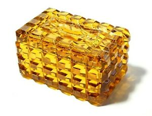Vintage 1940-50's Moulded Yellow Glass Lidded Vanity Trinket Box