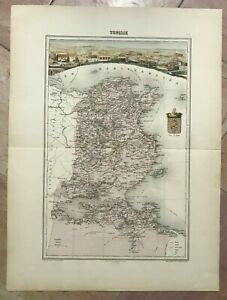 TUNISIA 1860 by L. SMITH LARGE DECORATIVE ANTIQUE MAP 19TH CENTURY