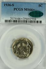 1936-S Buffalo Nickel : PCGS MS66+ PLUS  CAC Sticker