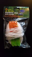 WASHING LINE WHITE CAMPING FESTIVAL BALCONY SMALL COURTYARD 15M 6 PEGS