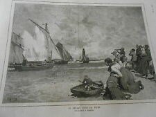 Gravure 1886 - Le départ de la Pêche d'après Gérardin