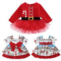 Christmas Toddler Baby Kids Girls Princess Dress Long Sleeve Xmas Party Clothes