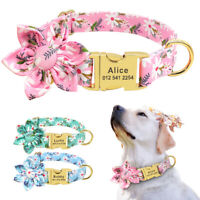 Personalized Dog Collar Nylon Flower Pet Cat Puppy ID Name Engraved Collars SML