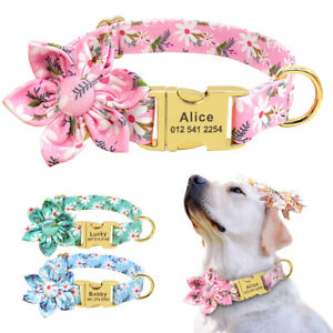Flower Dog Personalised Collars Custom Pet ID Tags Engraved for Small Large Dogs