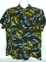 Milano Bay Men's Hawaiian Shirt Large Tropical Palm Short Sleeve Brown Yellow