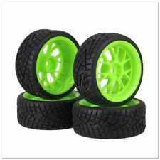 4x RC1:10 On Road Car Green Plastic Y Shape Wheel Rims Fish Pattern Rubber Tyres
