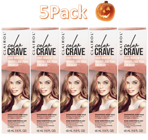 5 Pack Clairol Color Crave Hair Makeup Shimmering Rose Gold 1.5 fl. oz.Each 🎃🎃