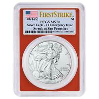 2021 (S) $1 American Silver Eagle PCGS MS70 Emergency Issue FS Flag Label Red Fr