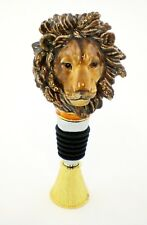 Hand Made Lion Head Bottle Stopper with Colorful Enamel & Swarovski Crystal