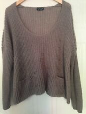 Topshop Taupe Mink Brown Acrylic Mohair Slouchy Chunky Knit Jumper 14 M L 42