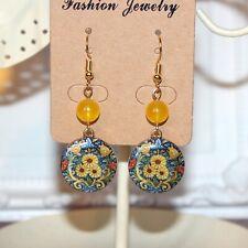 Mustard yellow and blue flower pattern enamel gold drop earrings