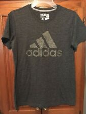 Adidas The Go To Performance Tee 3 Stripe Logo Dark Gray Graphic T Size Small