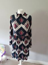 Tu Dress Long Landgirl Peasant Style Multicolored Size 14 42 Floral Ruffle Neck